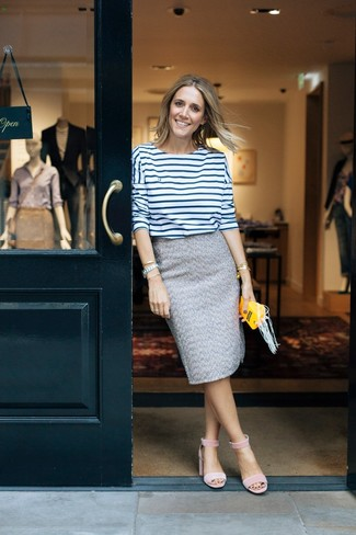 How to wear: white and navy horizontal striped long sleeve t-shirt, grey tweed pencil skirt, pink suede heeled sandals, gold bracelet