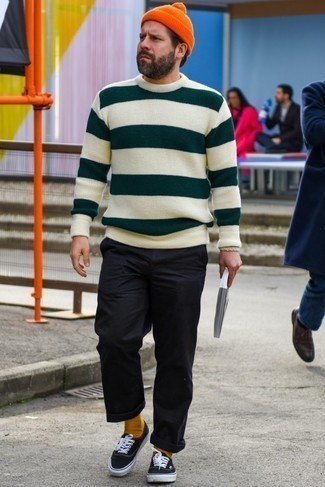 How to Wear a Beige Horizontal Striped Crew-neck Sweater For Men: The best foundation for killer laid-back style for men? A beige horizontal striped crew-neck sweater with black chinos. If you're hesitant about how to round off, introduce black and white canvas low top sneakers to the equation.