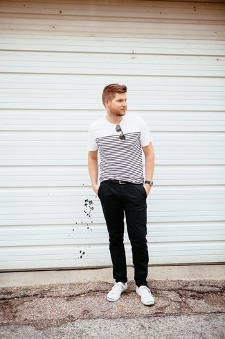 How to Wear Black Chinos In Summer: If you're seeking to take your casual look to a new height, try teaming a white and black horizontal striped crew-neck t-shirt with black chinos. If in doubt as to the footwear, introduce white canvas low top sneakers to the equation. So if it's a warm summertime afternoon and you want to look sharp without exerting much effort, this look will do the job in no time.
