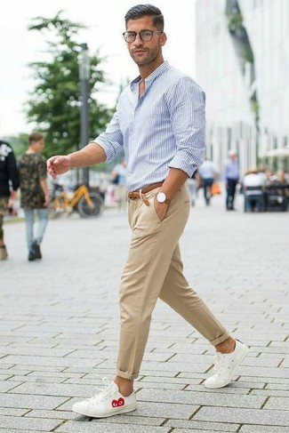 How to wear: brown woven leather belt, white leather low top sneakers, khaki chinos, white and blue vertical striped dress shirt