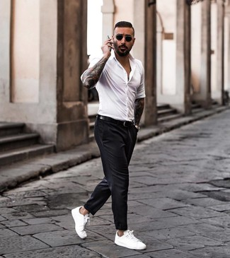 How to wear: black leather belt, white leather low top sneakers, black chinos, white long sleeve shirt