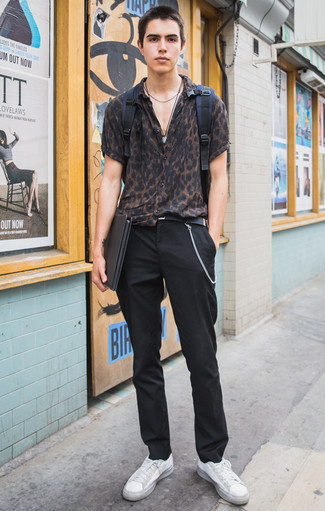 How to Wear a Black Canvas Belt For Men: For casual street style without the need to sacrifice on comfort, we love this combination of a dark brown leopard short sleeve shirt and a black canvas belt. Finishing with white canvas low top sneakers is a guaranteed way to introduce some extra depth to this outfit.