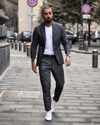 How to wear: black leather belt, white low top sneakers, white crew-neck t-shirt, charcoal wool suit
