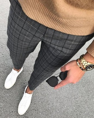 How to wear: black sunglasses, white leather low top sneakers, charcoal plaid dress pants, tan crew-neck sweater