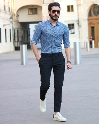 How to wear: dark brown sunglasses, white leather low top sneakers, black dress pants, blue floral dress shirt