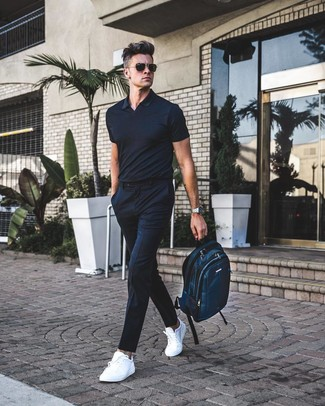 How to wear: teal canvas backpack, white leather low top sneakers, black vertical striped dress pants, black polo