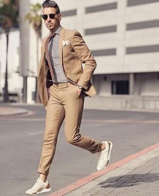 How to wear: brown tie, beige suede low top sneakers, brown gingham dress shirt, tan suit