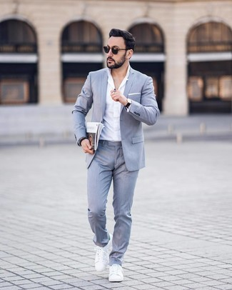 How to wear: white pocket square, white leather low top sneakers, white dress shirt, grey suit