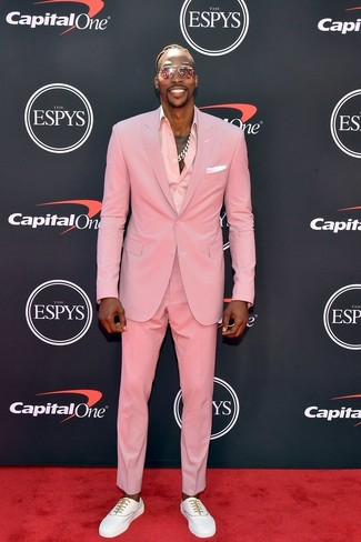 How to wear: white pocket square, white low top sneakers, pink dress shirt, pink suit