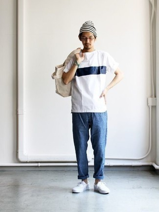 How to Wear a White and Navy Print Crew-neck T-shirt For Men: For a casual getup, try pairing a white and navy print crew-neck t-shirt with blue jeans — these two pieces go perfectly well together. For extra style points, grab a pair of white canvas low top sneakers.