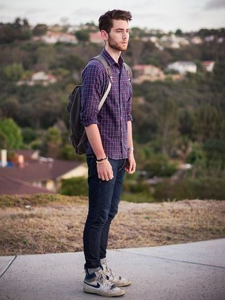 How to Wear a Grey Watch For Men: This getup with a violet plaid long sleeve shirt and a grey watch isn't super hard to score and leaves room to more creative experimentation. To add some extra flair to this getup, add a pair of white and navy leather low top sneakers to the equation.