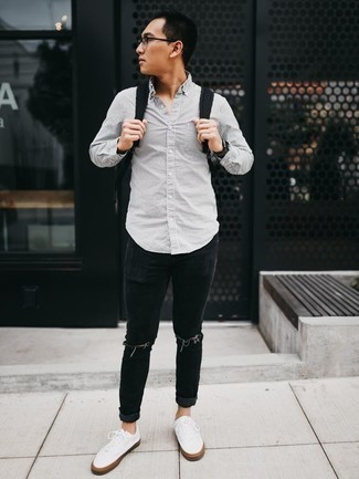 How to Wear a Black Watch For Men: Fashionable and practical, this combination of a grey vertical striped long sleeve shirt and a black watch delivers variety. To give your overall outfit a more polished finish, slip into a pair of white canvas low top sneakers.
