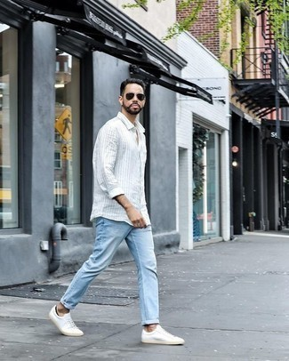 How to Wear Dark Green Sunglasses For Men: Why not consider wearing a white vertical striped long sleeve shirt and dark green sunglasses? As well as very comfortable, these two pieces look awesome when paired together. Add white canvas low top sneakers to the mix for an added touch of sophistication.
