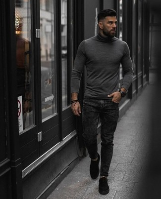 How to Wear a Black Watch For Men: Go for a grey turtleneck and a black watch for a bold casual ensemble that's also easy to pull together. If you want to immediately polish up your look with one single item, why not complete this look with a pair of black canvas low top sneakers?