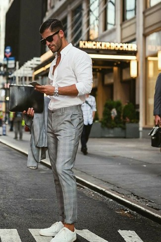 How to wear: black leather zip pouch, white low top sneakers, white long sleeve shirt, grey plaid suit