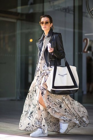 How to wear: white and black leather tote bag, white low top sneakers, beige floral maxi dress, black leather biker jacket