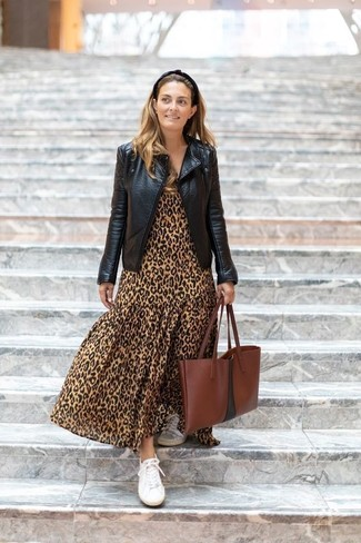 How to wear: brown leather tote bag, white canvas low top sneakers, tan leopard maxi dress, black leather biker jacket