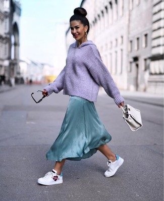 How to wear: white leather handbag, white print leather low top sneakers, mint silk maxi dress, light violet knit hoodie