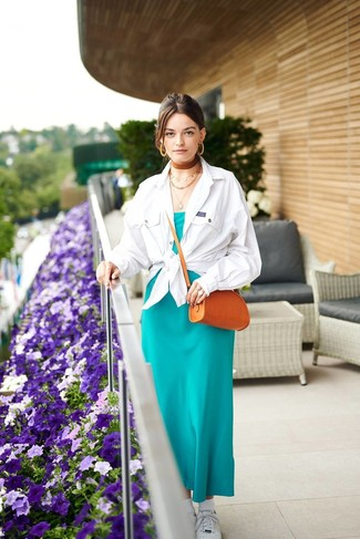 Women's Tobacco Leather Crossbody Bag, White Low Top Sneakers, Teal Silk Maxi Dress, White Shirt Jacket