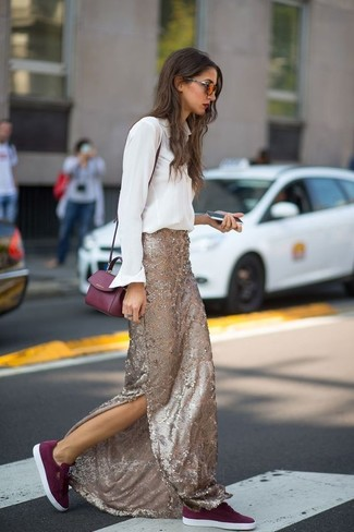 How to wear: burgundy leather crossbody bag, burgundy suede low top sneakers, gold sequin maxi skirt, white dress shirt