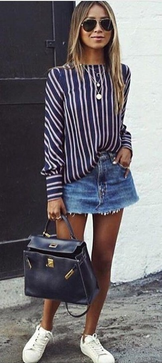 How to wear: black leather satchel bag, white leather low top sneakers, blue denim mini skirt, navy and white vertical striped long sleeve blouse