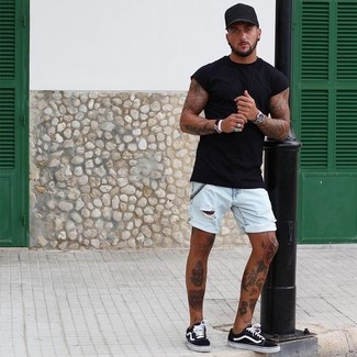 How to wear: black baseball cap, black and white canvas low top sneakers, light blue denim shorts, black crew-neck t-shirt