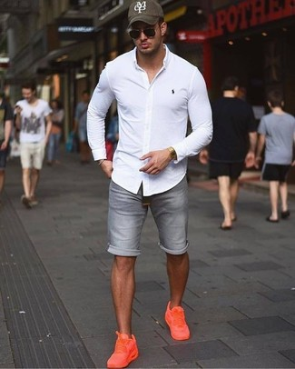 How to wear: olive print baseball cap, orange low top sneakers, grey denim shorts, white dress shirt