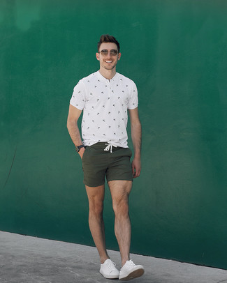 How to wear: brown sunglasses, white leather low top sneakers, olive shorts, white print henley shirt