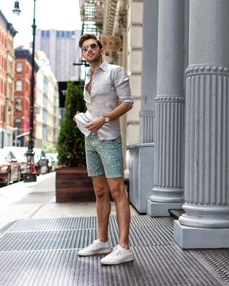 How to wear: black sunglasses, white canvas low top sneakers, mint print shorts, white linen long sleeve shirt