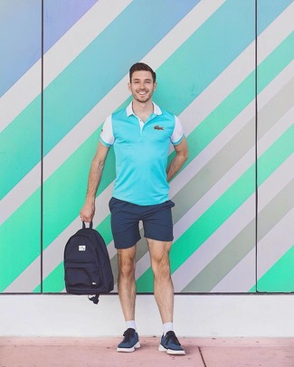 How to wear: navy canvas backpack, navy low top sneakers, navy shorts, aquamarine polo