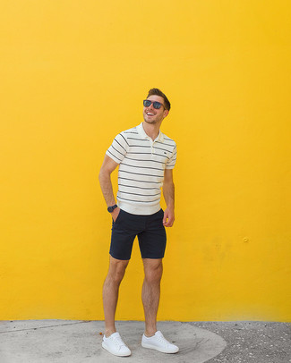 How to wear: brown sunglasses, white leather low top sneakers, black shorts, white and black horizontal striped polo