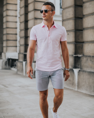 How to wear: black sunglasses, white low top sneakers, grey seersucker shorts, pink polo