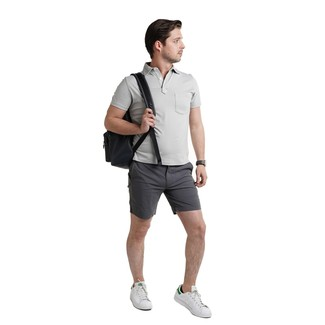 How to Wear a Black Leather Backpack For Men: Want to infuse your menswear arsenal with some off-duty menswear style? Choose a grey polo and a black leather backpack. If you wish to effortlesslly class up this look with a pair of shoes, add white leather low top sneakers to the mix.