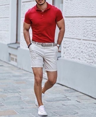 Men's Looks & Outfits: What To Wear In 2020: This combination of a red polo and white shorts is on the casual side but is also dapper and extra sharp. A pair of white canvas low top sneakers integrates smoothly within plenty of ensembles.