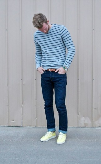 How to wear: brown leather belt, yellow low top sneakers, navy skinny jeans, light blue horizontal striped crew-neck sweater