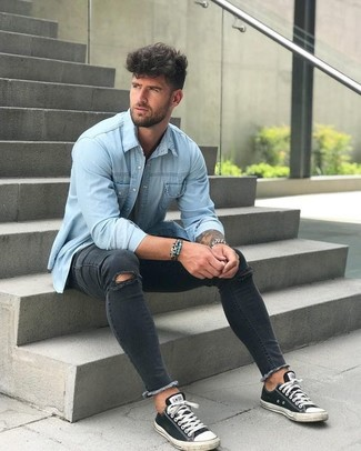 How to wear: silver watch, black and white canvas low top sneakers, black ripped skinny jeans, light blue denim shirt