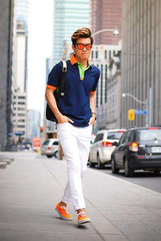 How to wear: black backpack, orange canvas low top sneakers, white skinny jeans, navy polo