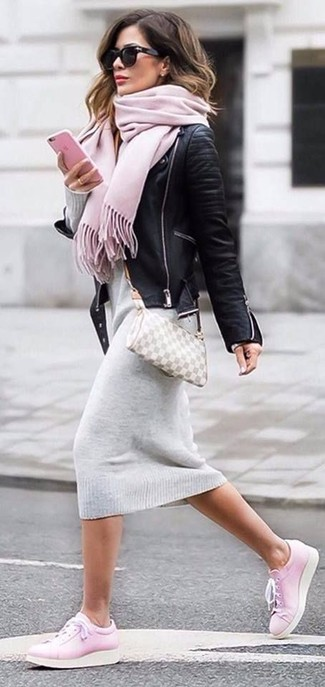 How to wear: grey check leather crossbody bag, pink leather low top sneakers, grey sweater dress, black leather biker jacket