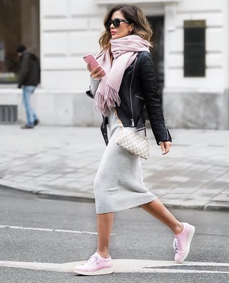 How to wear: grey check canvas crossbody bag, pink leather low top sneakers, grey sweater dress, black leather biker jacket