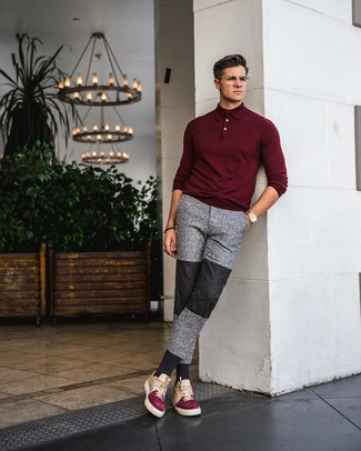 How to wear: gold watch, multi colored leather low top sneakers, grey sweatpants, burgundy polo neck sweater