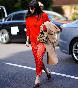 How to wear: burgundy leather mules, red print silk maxi dress, red crew-neck sweater, camel coat