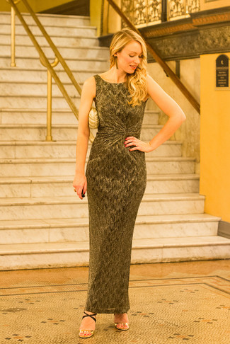 How to wear: gold maxi dress, black and gold leather heeled sandals, gold clutch, gold earrings