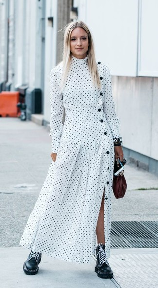 How to wear: white polka dot maxi dress, black leather lace-up flat boots, burgundy leather clutch, black leather watch