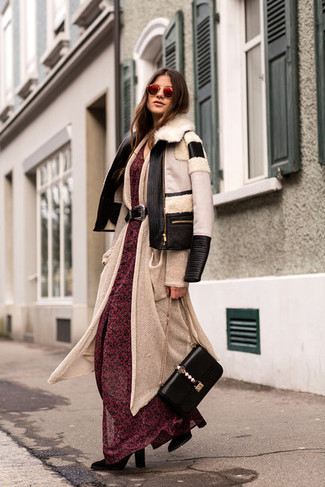 How to wear: black suede mid-calf boots, red floral chiffon maxi dress, beige long cardigan, black and white shearling jacket