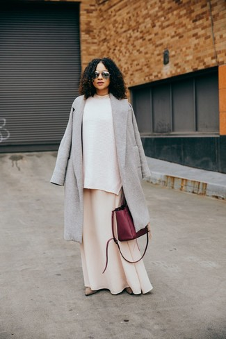 How to wear: beige suede ankle boots, beige maxi dress, white knit oversized sweater, grey coat