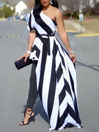 Busy days call for a simple yet stylish outfit, such as a white and black vertical striped maxi dress and a Saint Laurent Contrast Panel Leather And Suede Waist Belt. You could perhaps get a little creative when it comes to footwear and spruce up your outfit with black suede heeled sandals. Is there a better choice for a warm day?