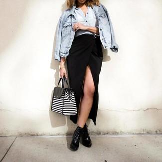How to wear: black leather lace-up ankle boots, black slit maxi skirt, light blue denim shirt, light blue denim jacket
