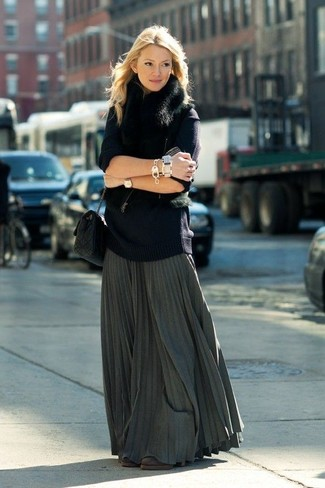 How to wear: dark brown suede ankle boots, charcoal pleated maxi skirt, navy oversized sweater, black fur vest