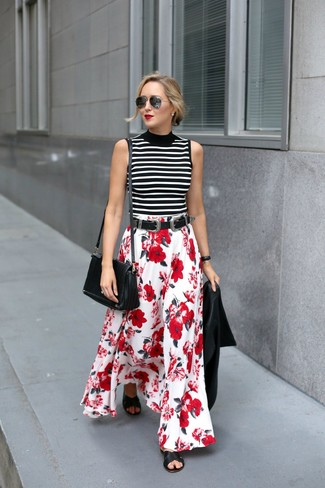 How to wear: black leather flat sandals, red and white floral maxi skirt, white and black horizontal striped sleeveless turtleneck, black leather biker jacket