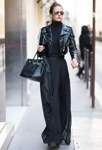 How to wear: black suede over the knee boots, black pleated maxi skirt, black turtleneck, black embellished leather biker jacket